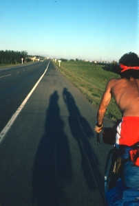 Riding on the prairies, well into the evening