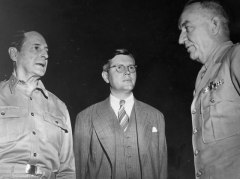 Norman (centre) with Gen. MacArthur (left) in Japan, post WWII.