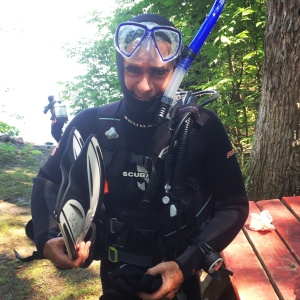 Getting suited up for my open water first scuba dive, in the St. Lawrence