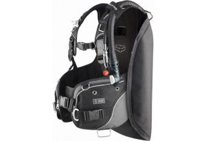 This is a BCD, with buoyancy controlled by the red and white button, tank straps to the back