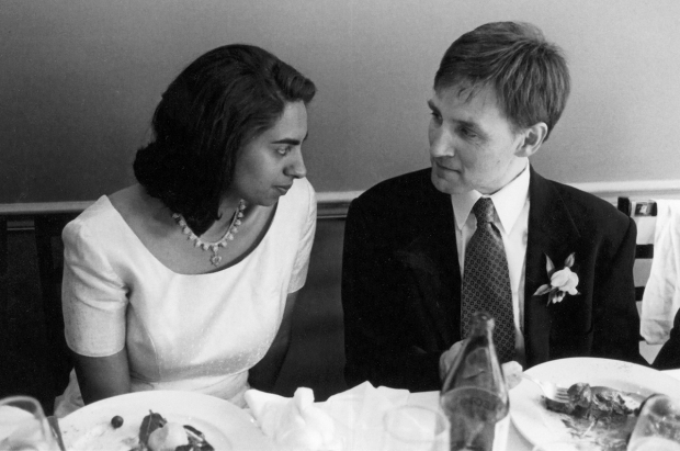Randy and Asha, wedding reception, 1998