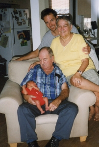 Randy with his parents Lois and Keith, and newborn Ryan