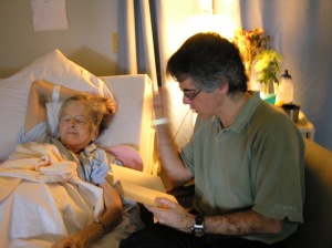 Reading to my mum at the Delta hospital