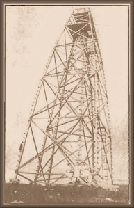 The wooden survey tower that once stood on top of Starkey Hill
