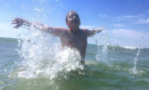Kyle's first time playing in open water, in Lake Huron, July 2016