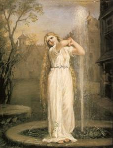 An early 20th century oil painting of Ondine, by John William Waterhouse.